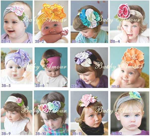 Free shipping 5pcs/lot Cute Baby flower headbands infant cotton hair band Baby cotton head scarf Baby headwear headdress TS009Одежда и ак�е��уары<br><br><br>Aliexpress