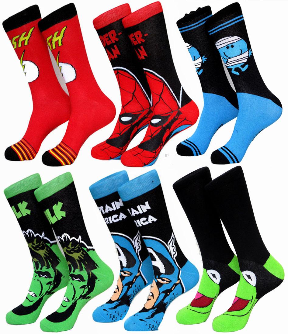 USA 10 Super Heroes Captain America Spider Man Superman big size Jacquard Socks summer style men