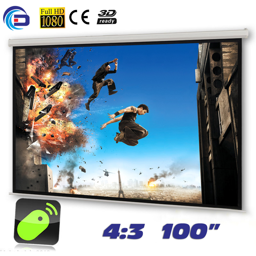 100 inches 4:3 Electric Projector Screen Matt White pantalla proyeccion for LED LCD HD Movie Motorized Projection Screen(China (Mainland))