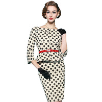 Fashion Womens Autumn Style Half Sleeve Vintage Dot Wear to Work Business OL Party Sheath Stretchy Pencil Dress With Sashes