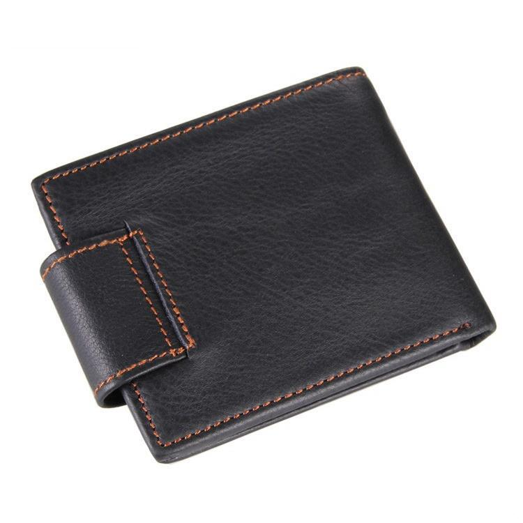 Black Color Man Vintage Wallet With Button Men's Genuine Leather Retro Wallets(China (Mainland))