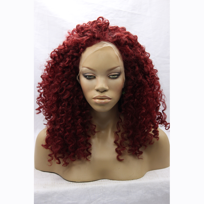 Cheap Red Curly Wig For Black Women Heat Resistant Natural Looking High Quality Synthetic Curly Lace Front Dark Red Wigs On Sale(China (Mainland))