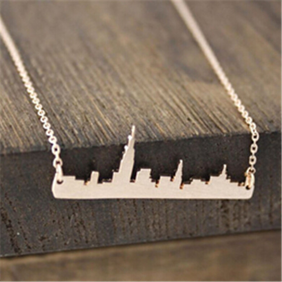 Wholesale 30Pcs Gold Silver NY Trip Souvenir New York Cityscap Bar Pendant Necklace For Friends Anniversary Gifts Metal Jewelry(China (Mainland))