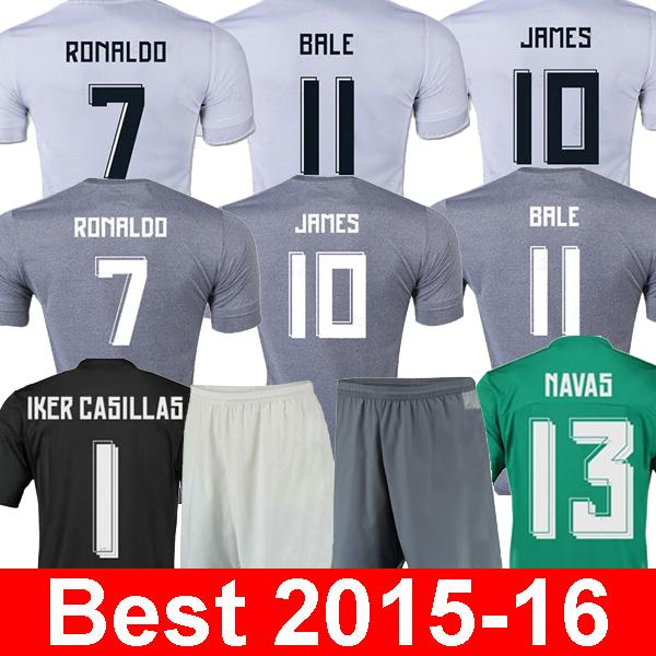 Thailand quality soccer jersey Real madrid 2016 ronaldo bale james real madrid jersey 15 16 camisetas de futebol maillot de foot(China (Mainland))