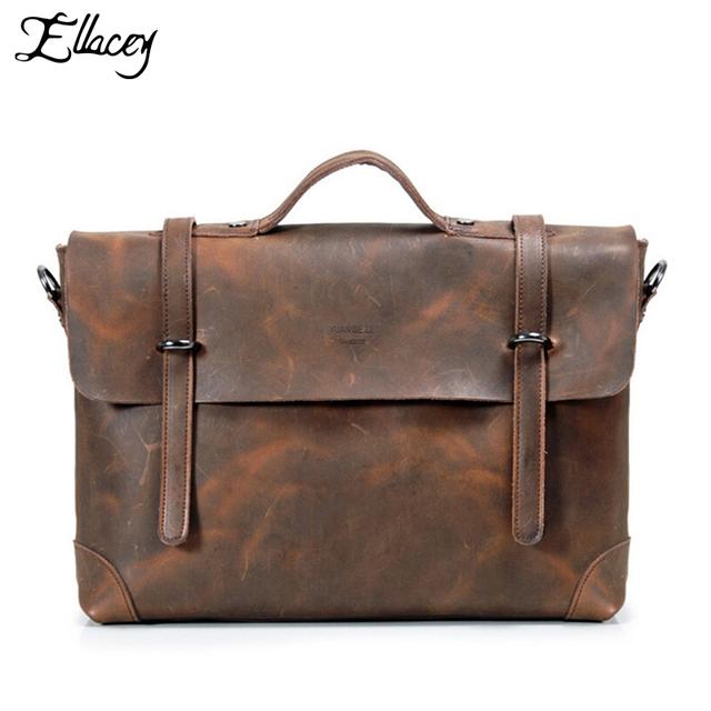 Известный бренд кожа мужская сумки мужские crazy-лошадь кожаный портфель большой ...