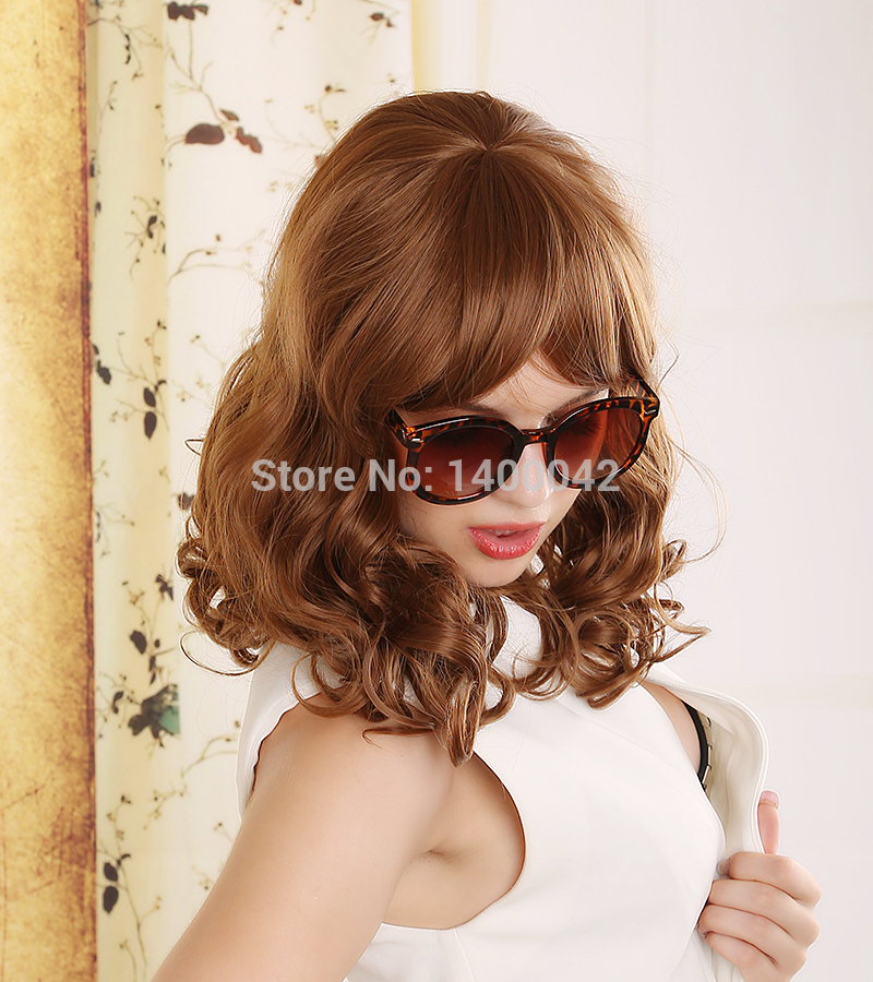 New Sale Fashion Realistic Wigs Women Medium Brown Curly Wig Heat Resistant Synthetic Hair Wigs For Women YL026(China (Mainland))