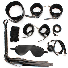 Adult Sex Game Leather 7 bdsm Bondage Kits Set Hand Cuffs Whip Rope Mask Fetish Restraints Sex Games for married couples