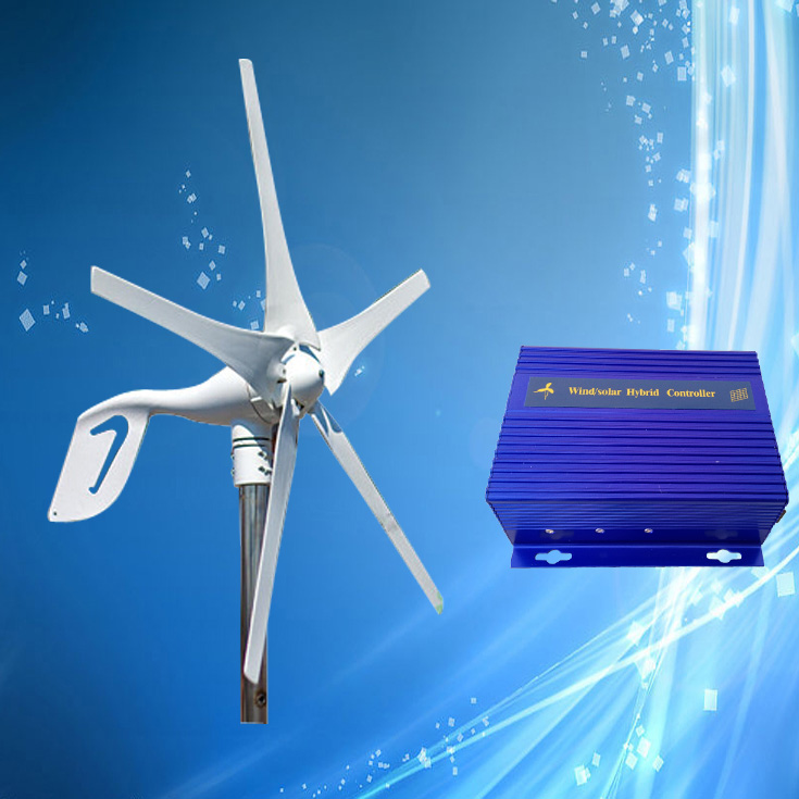 Discount Price 400W 12V Mini Wind Turbine Generator with 5PCS Blades + Wind Solar Hybrid Controller (400W Wind + 150W Solar)(China (Mainland))