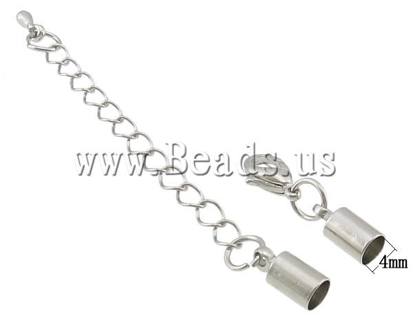 Free shipping!!!Brass Lobster Claw Cord Clasp,Wholesale Jewelry, with 2.3Inch extender chain, platinum color plated, nickel
