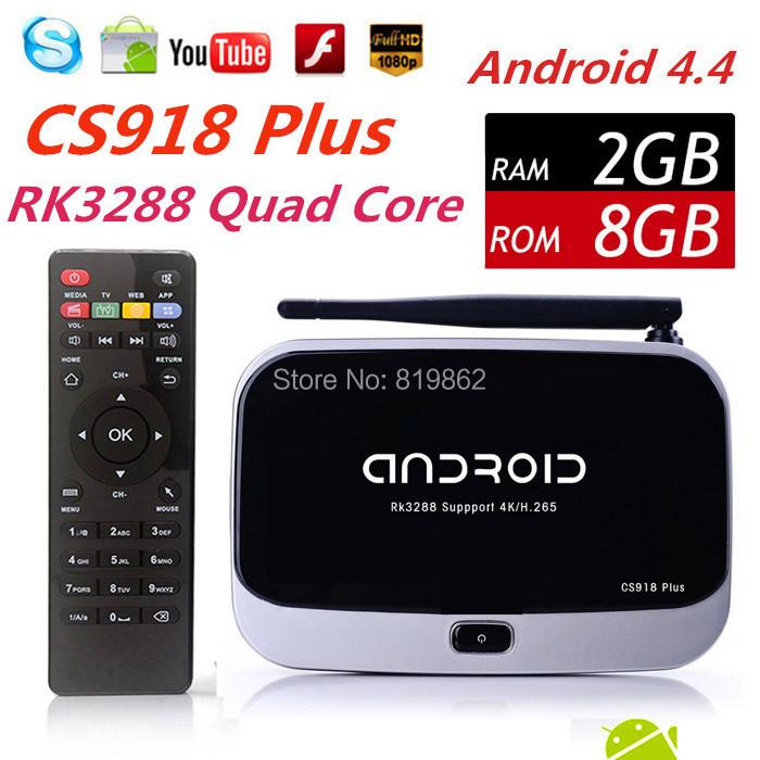 New CS918 Plus Android 4.4 Smart TV Box XBMC Media Player RK3288 Quad Core Mail-T764 2G/8G 4K 1080P H.265 3D WiFi HD Bluetooth(China (Mainland))