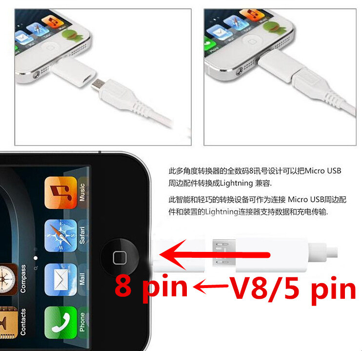 Micro USB Data Sync And Charge Connector Microusb Charger Adapter For iPhone 6 5 5S 5C Micro Usb to 8Pin Convertor for IOS 8.0