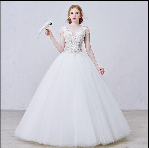 Wedding Dresses For Thin Brides : Super show thin bride wedding gown v neck sleeveless