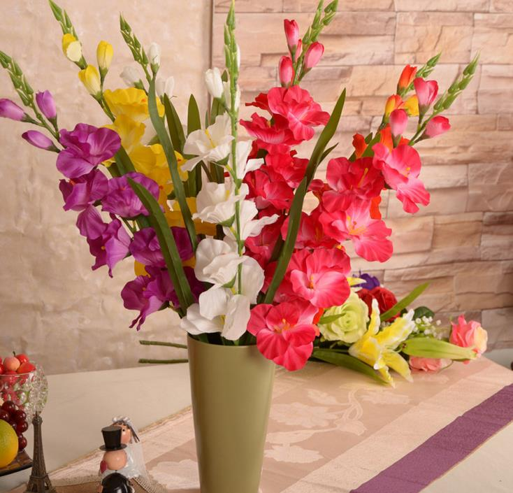29.5'' Artificial Plants&Flowers Silk Gladiolus Gladioli Stem Fake Sword Lily Party Centerpieces Artificial Decorative Flowers(China (Mainland))