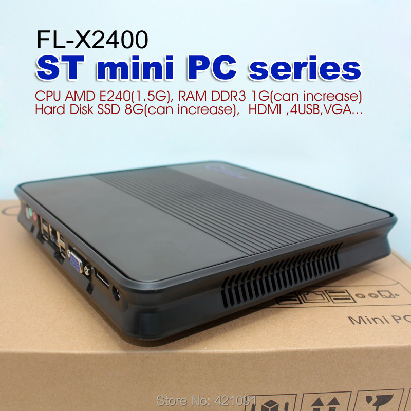 X2400 CPU for AMD E240 1GB + SSD 8GB Network Cloud Terminals Mini PC Station Thin Client Computer Sharing(China (Mainland))