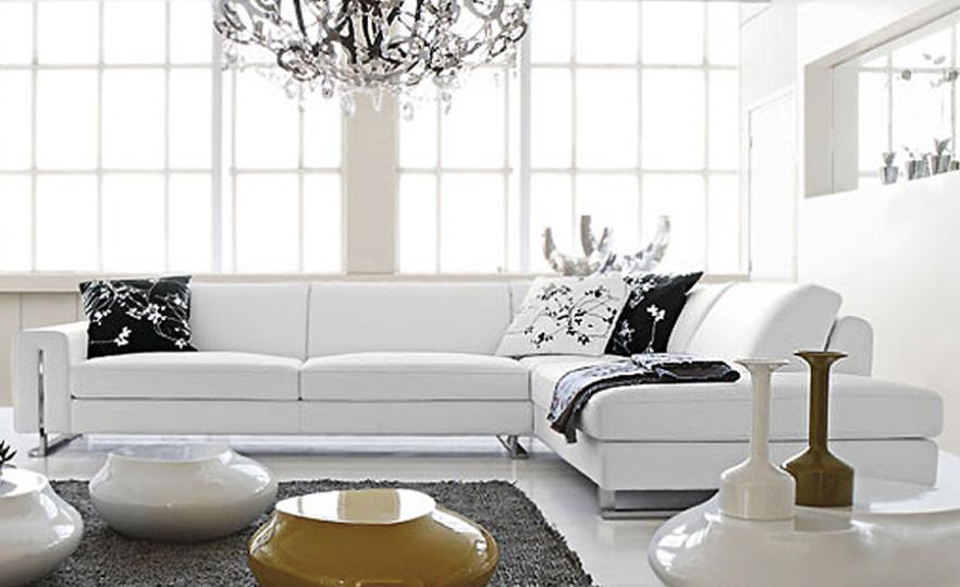 Small l shaped simple white cattle leather modern sofa for Sofas modernos en l