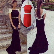 Elegant Mermaid Long Evening Dresses 2016 New Arrival High Neck Red Chiffon Backless Chiffon Runway Party