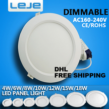 DHL FREE SHIPPING dimmable Ultra thin led down light  4w 6w 8w10w 12w 15w 18w led ceiling recessed downligh