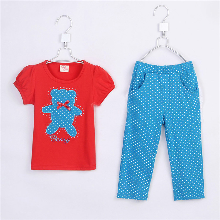 2015 summer female child children's clothing baby child clothes short-sleeve T-shirt trousers set A0429(China (Mainland))