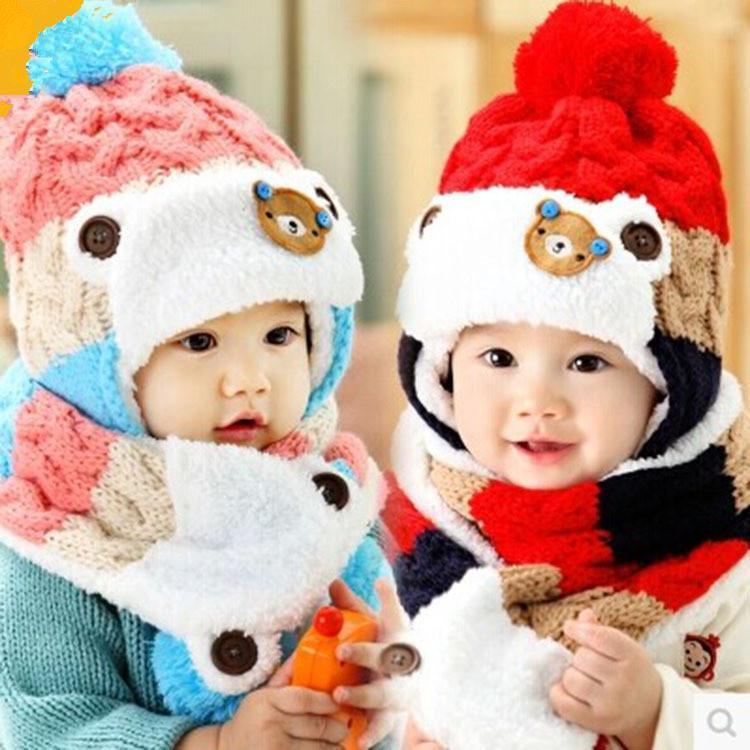 New 2017 Baby Winter Hats Cartoon Baby Boy/Girl Striped Woolen Hats Newborn Bear Baby Beanies+Scarf Twinset(China (Mainland))