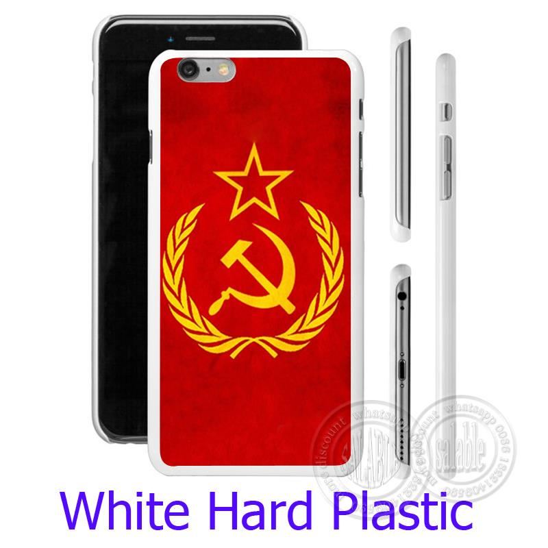 Soviet Union USSR Grunge Flag White Hard Phone Case for iPhone 5S 5 SE 5C 4 4S 6 6S 7 Plus Cover ( TPU / Plastic for Choice )(China (Mainland))
