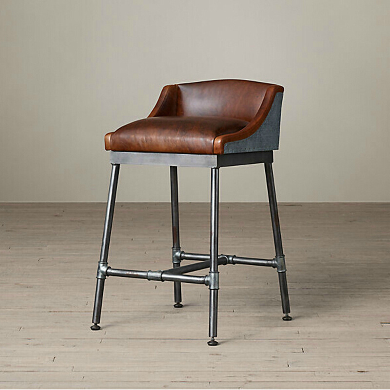American Retro Vintage Industrial Furniture Chair Bar Stool Bar Highchair Pipe Fittings