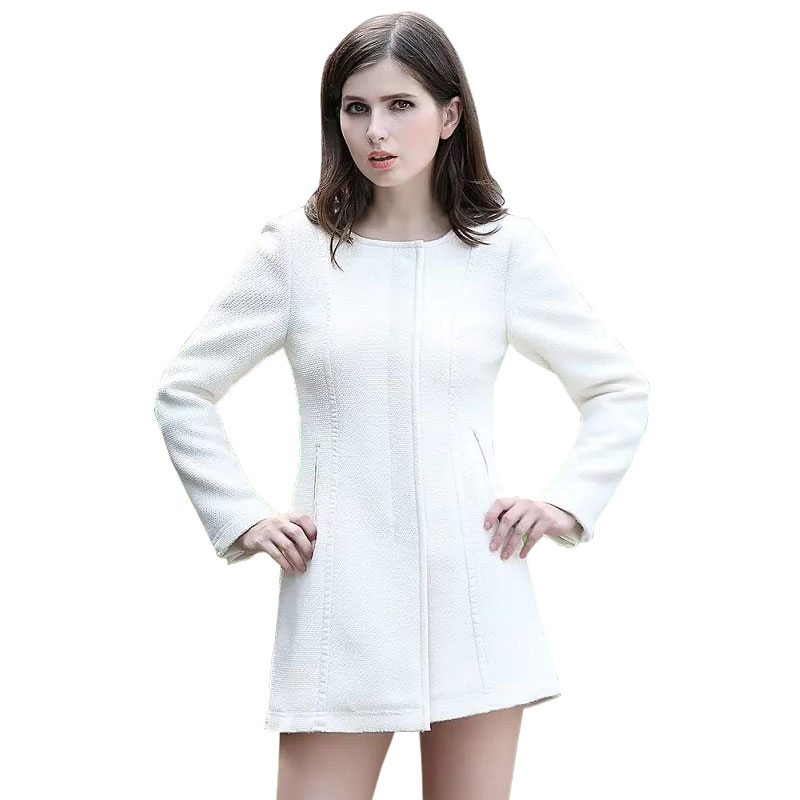 O Neck Solid White Women Coats Long Sleeve Winter Office Cardigans Womens Blends Casual New 2015 Brand Woman Coat 1-qq8117Одежда и ак�е��уары<br><br><br>Aliexpress