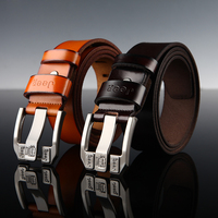 New Arrive Frist Class Cowhide Leather Best Design Real Leather Mens Genuine Leather Belt  Man Waist Luxury Belts Alloy Buckle