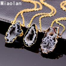 Vintage Irregular Agate Pendant Necklace Women Crystal Brazalian Natural Stone Statement Necklace Gold Plated Jewelry(China (Mainland))