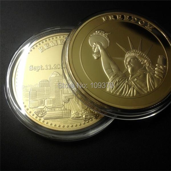 9/11 Gold Coin Statue of Liberty Freedom Americana 911 Manhattan Medallion Retro ,New 10 pcs/lot(China (Mainland))