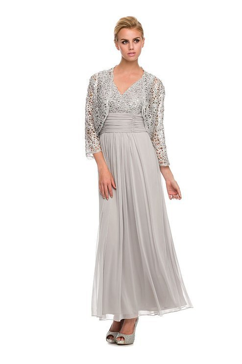 Vestidos Sliver Summer Lace Long Chiffon Evening Dress Long Sleeves Mother of The Bride Dresses With Jacket 2015(China (Mainland))