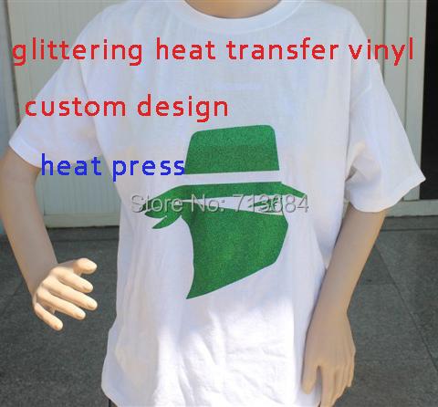 glittering vinyl Heat Transfer Vinyl Design Logo Custom For Iron ON Heat Press Print T-shirt(China (Mainland))