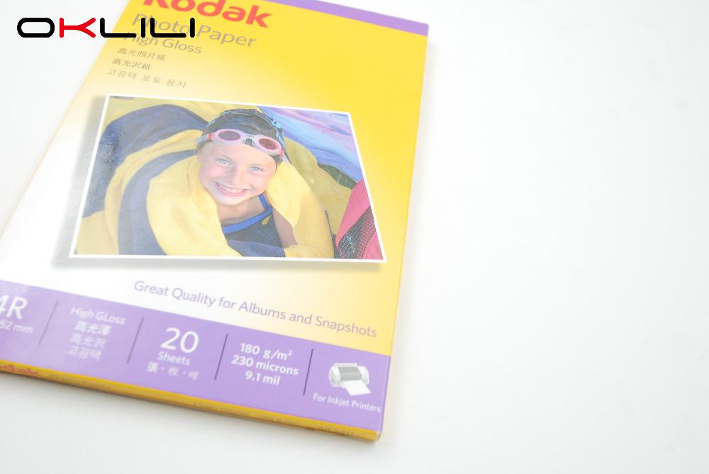 ORIGINAL NEW for Kodak 4R x 20 High Gloss glossy Photo Paper 102 x 152mm 20 sheets 180g 230 microns 9.1 mil for Inkjet Printer(China (Mainland))