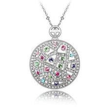 Genuine Silver Plated Cz Rhinestone Necklace Jewelry for Women(China (Mainland))