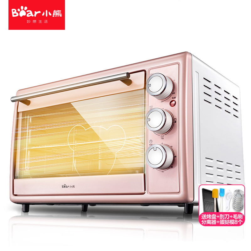Multi-function Electric Ovens for Home BakingCakes 30L Capacity Mini Stainless Steel Baking Oven with Hot Plates Cute Pink(China (Mainland))