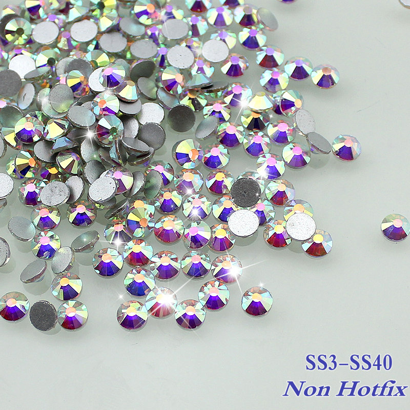 Sale! Super Shiny ss3-ss40 1440pcs/Bag Clear Crystal AB color 3D Non HotFix FlatBack Nail Art Decorations Flatback Rhinestones(China (Mainland))