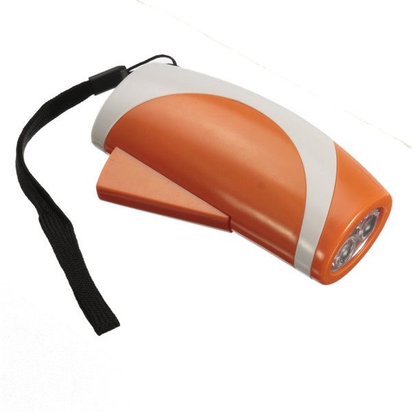 New Arrival Hot Sale Portable 2 LED Hand Press Camping Wind Crank Flash Light Hand Crank Flashlight With Alert(China (Mainland))