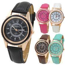 Men's Women's Rose Gold Plated Faux Leather Band Quartz Dial Wrist Watch 2A8H 3Y3FD