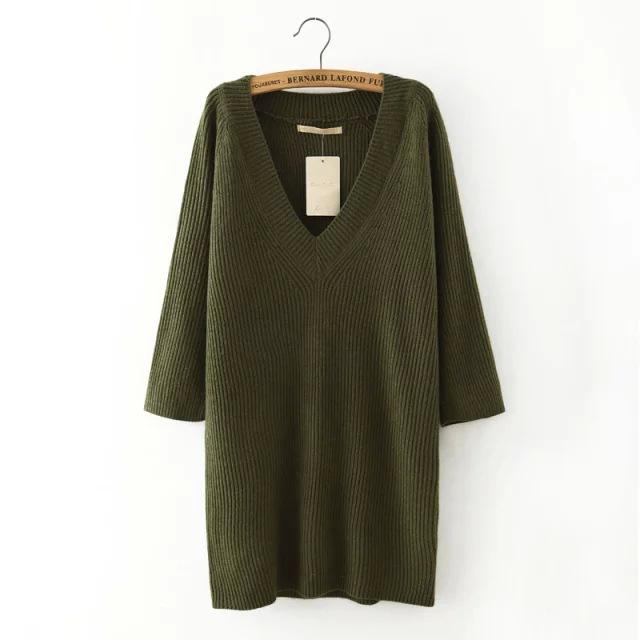 Новых осенью свободного покроя пуловеры 4 цветов 2015 свободно уютный трикотаж с назад раскол три четверти длины рукава свитер