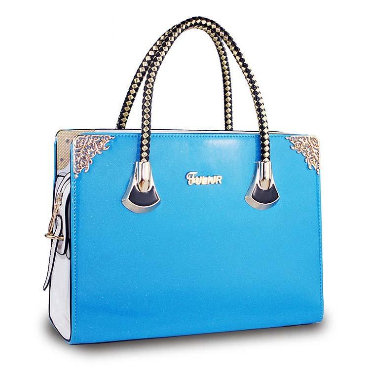 New 2015 Famous Designers Bags Plain PU Leather Women Handbag Women Message Khaki Blue Green Pink Solid Color Bag BGE_065(China (Mainland))