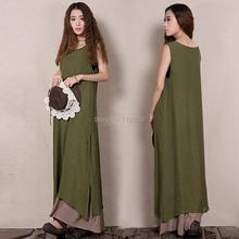 Vintage Women Summer Cotton Linen Boho Casual Asymmetric Loose A-line Cascading Ruffled Sleeveless Tank Long Dress Sundress