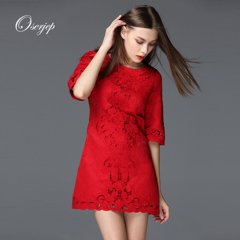 2016 Summer Style Women Lace Dress Half Sleeve O-Neck Embroidery Lady Casual Dresses Floral Printed Red/White Fashion Mini Dress