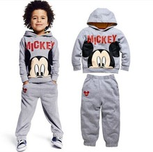2015 100%cotton baby boys autumn cartoon suits mickey sweatshirt +trousers kids clothes casual hoodies set children clothing set