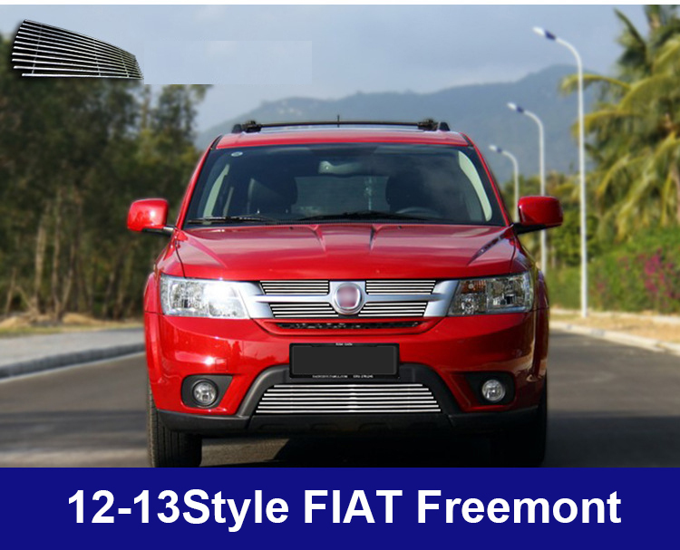 New styling Car Racing grille decorate /auto Front grille bright metal accessories for Fiat Freemont 2012-2013 5pcs/set(China (Mainland))