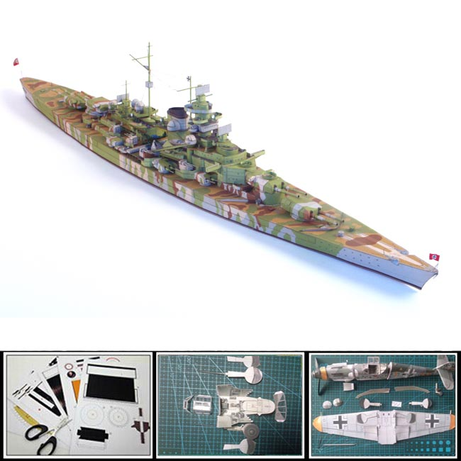 New 3D Ships Paper Model German battleship TIRPITZ simulation toys1:400 scale 3d puzzles handmade decoration papercraft(China (Mainland))