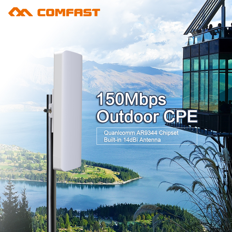 Comfast 2.4G outdoor CPE bridge 150M long range Signal Booster extender Wireless AP 14dbi wi fi repeater RJ45 WAN router cpe(China (Mainland))