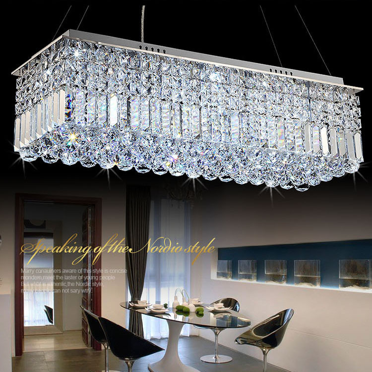 Long Size Rectangle Crystal Pendant Light Fitting Crystal chandelier ceiling suspension lamp for dining room, bedroom, meetin(China (Mainland))