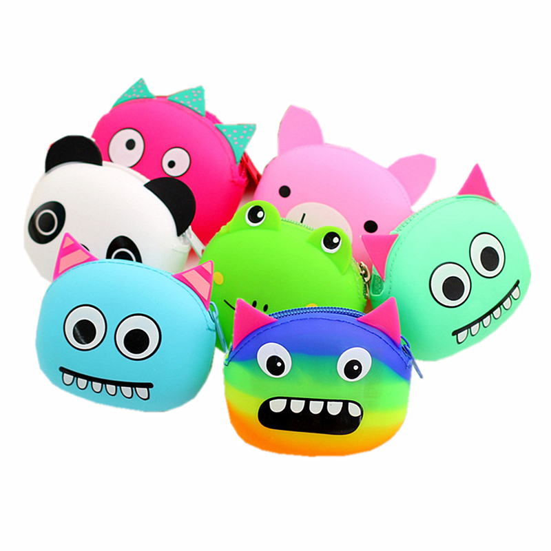 2015 New Women Colorful Monster Animal Jelly Rubber Silicone Coin Purse Zipper Wallet Bag Children Kid Gift Mini Monederos Mujer(China (Mainland))