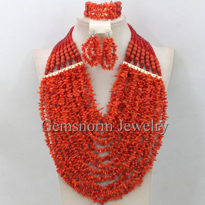 African Wedding Coral Beads Necklace Set 12 Rows Full Coral Beads Costume Jewelry Set Bridal Jewelry Set Free Shipping CNR327<br><br>Aliexpress