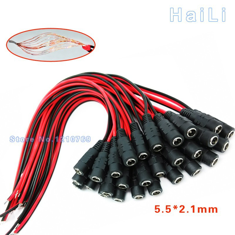 10Pairs 12v DC Power pigtail 10PCS male+10PCS female 5.5* 2.1mm cable plug wire for CCTV IP camera Free Shipping(China (Mainland))