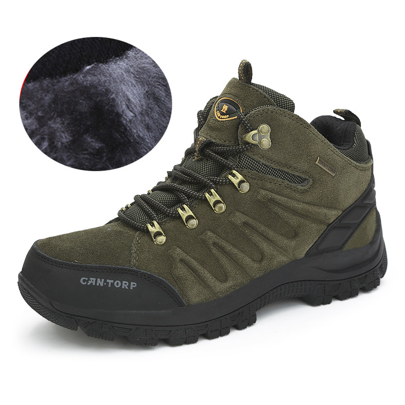 Outdoor men's high-top hiking shoes waterproof warm cotton-padded casual - Lemon summer store